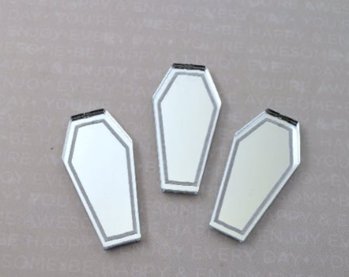 SILVER MIRROR COFFINS - 3 Silver Mirror Laser Cut Acrylic Cabs - No Holes