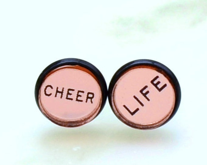 CHEER LIFE- Rose Gold Mirror and Black Stud Earrings