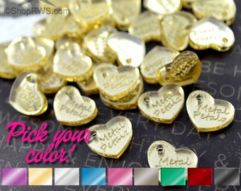 CUSTOM MIRRORED TAGS -  Hearts - Laser Cut Acrylic - Personalized - You Choose The Color - 50, 100, or 250 - With or Without Holes