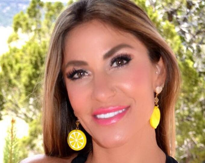 EX SQUEEZE ME - Sweet Lemons - Summer Fruit Basket Collection - Stud Dangle Earrings