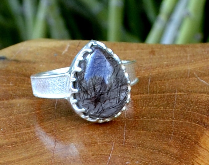 Stormy Skies - Rutilated Quartz, Sterling Silver Ring, Size 8, 925, USA Seller, Genuine Stone, Tear Drop Shape, Handmade Gemstone Ring
