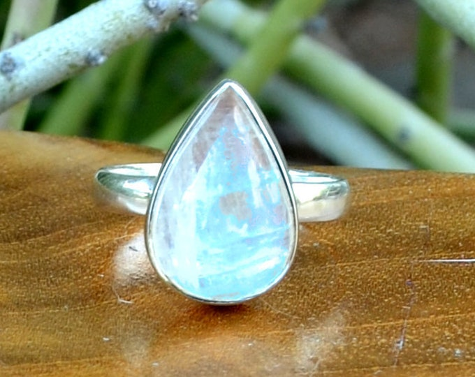 Moonstone - Sterling Silver Ring, Size 7, 925, USA Seller, Genuine Stone, Teardrop Shape, Handmade Gemstone Ring