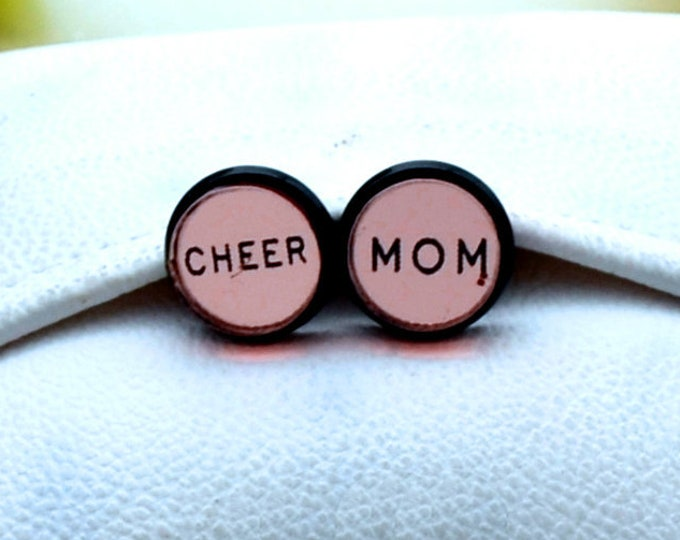 CHEER MOM- Rose Gold Mirror and Black Stud Earrings