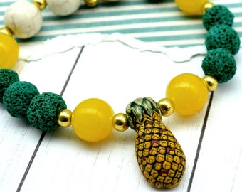 SWEET PINEAPPLE - Couture Peruvian Beaded Stretch Bracelet