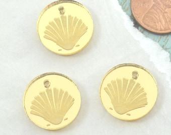 GOLD SHELL CHARMS - Clam Shells - Circle Disc Charm- Shiny Gold Mirror Laser Cut Acrylic