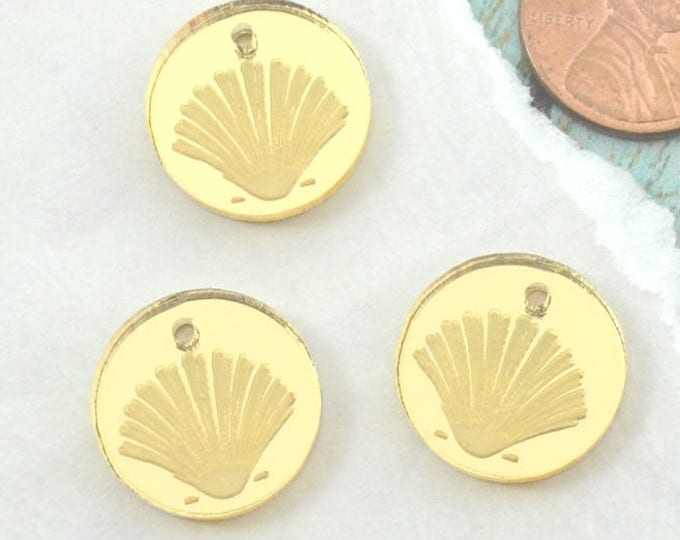 GOLD SHELL CHARMS - Clam Shells - Circle Disc Charm- Shiny Gold Mirror Laser Cut Acrylic