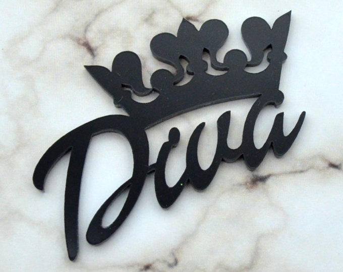 DIVA CROWN Word Cab in Black Laser Cut Acrylic