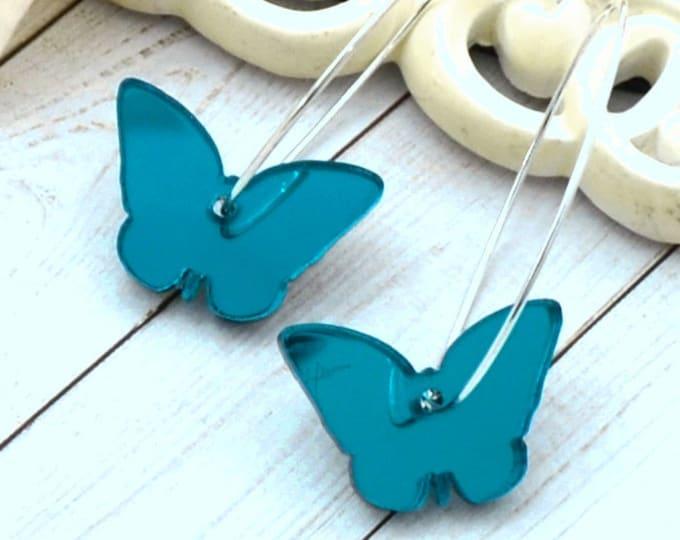 TEAL BUTTERFLY HOOPS Silver Dangle Earrings
