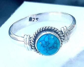 Native Spirit - Turquoise, Sterling Silver Ring, Size 7, 925, USA Seller, Genuine Stone, Round Shape, Handmade Gemstone Ring