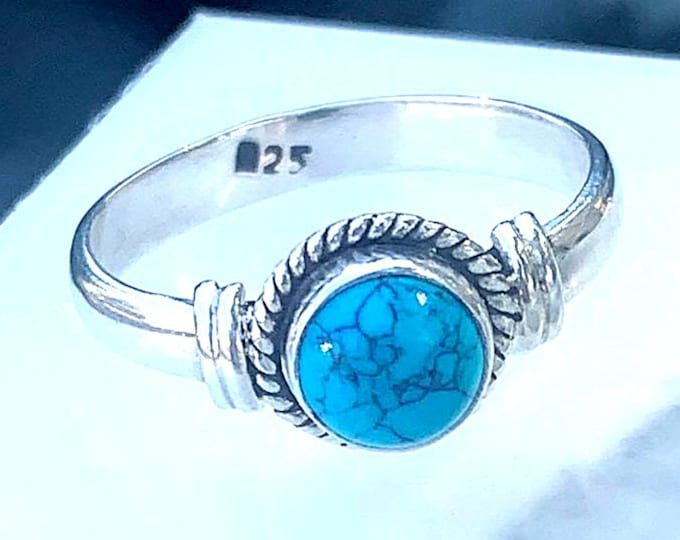 Native Spirit - Turquoise, Sterling Silver Ring, Size 7, 925, USA Seller, Genuine Stone, Round Shape, Handmade Gemstone Ring