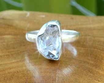 Herkimer Diamond - Quartz, Sterling Silver Ring, Size 8, 925, USA Seller, Genuine Stone, Handmade Gemstone Ring