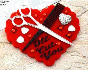 I'll Cut You Brooch - Red Scalloped Heart