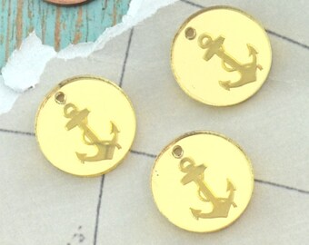 GOLD ANCHOR CHARMS - Circle Disc Charm- Shiny Gold Mirror Laser Cut Acrylic