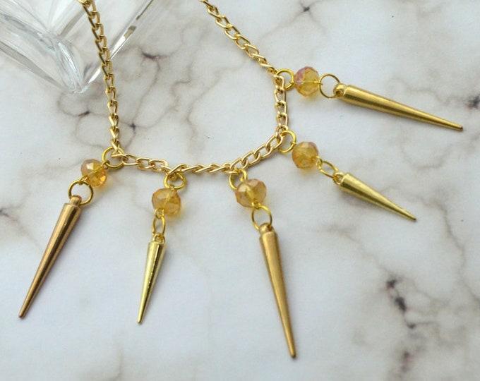 CRYSTAL SPIKE NECKLACE-Rondelle Crystal Iridescent Gold Spike Necklace