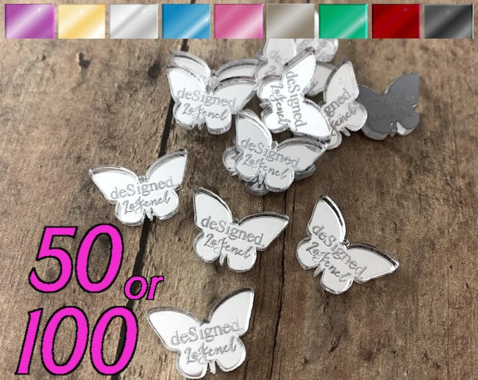 CUSTOM JEWELRY TAGS - Butterflies - Personalized - Qty. 50 or 100 - With or Without Holes