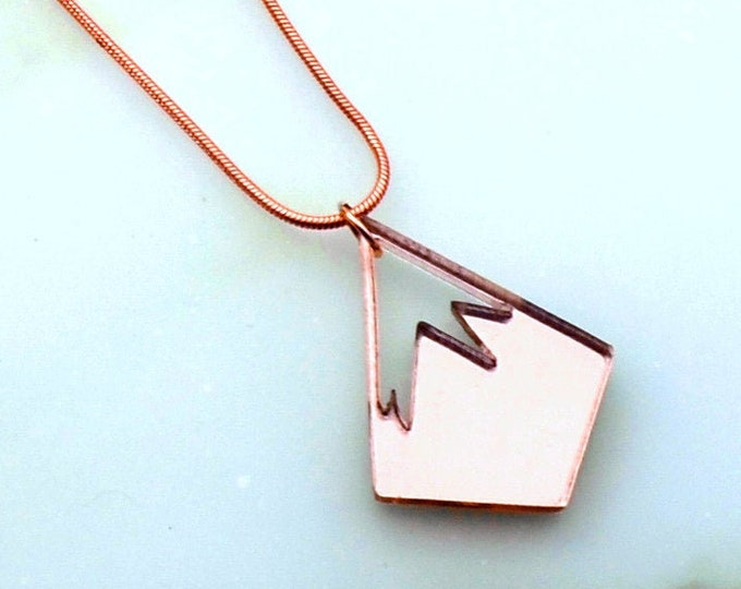 PINNACLE LOGO NECKLACE- Laser Cut Acrylic - Rose Gold Mirror