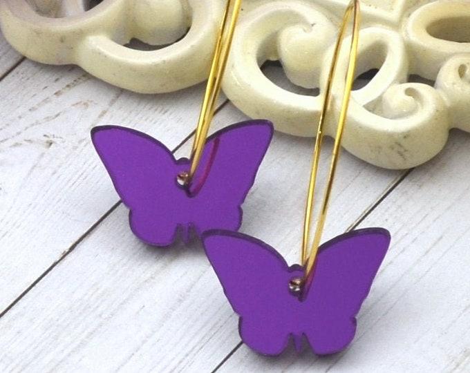 PURPLE BUTTERFLY HOOPS Gold Dangle Earrings