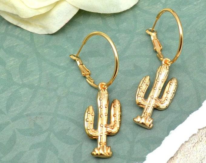 Florentine Gold Cactus Hoop Earrings