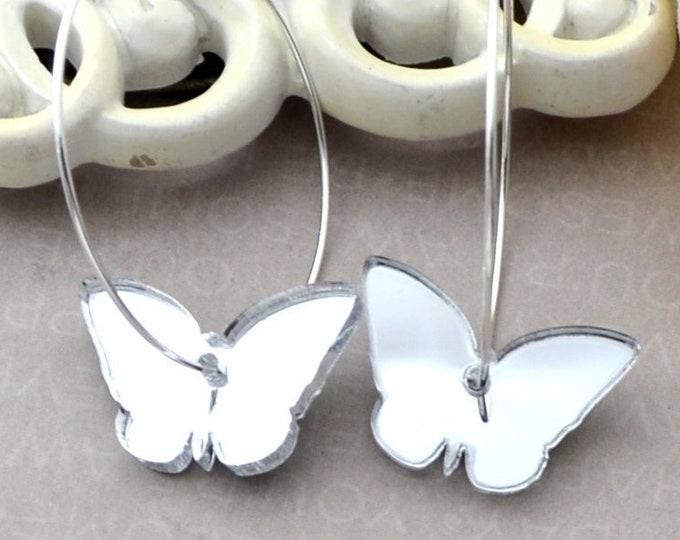 SILVER BUTTERFLY HOOPS Silver Dangle Earrings