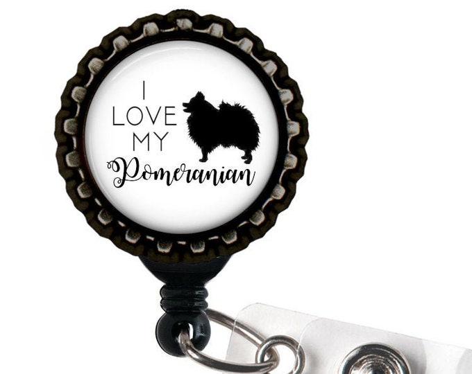 Pomeranian Black Resin Retractable Badge Reel ID Holder