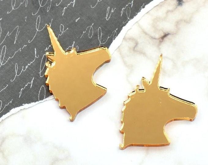 Unicorn Cabochon - Gold Mirror Laser Cut Acrylic