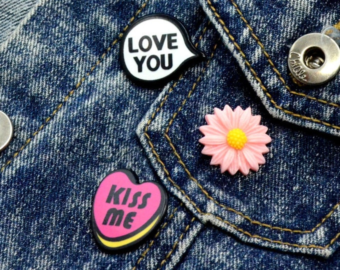 "Conversation Starters - Pin Set - ""Kiss Me"" Candy Heart - ""Love You"" Convo Bubble - Pink Daisy - 3 Pins"