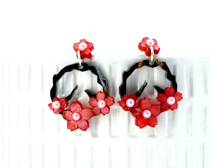 Cherry Blossom Hoops - Laser Cut Acrylic Post Earrings