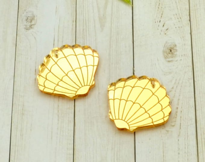 GOLD SEASHELL CHARM - Gold Mirror Cabochon - flat back - Laser Cut Acrylic