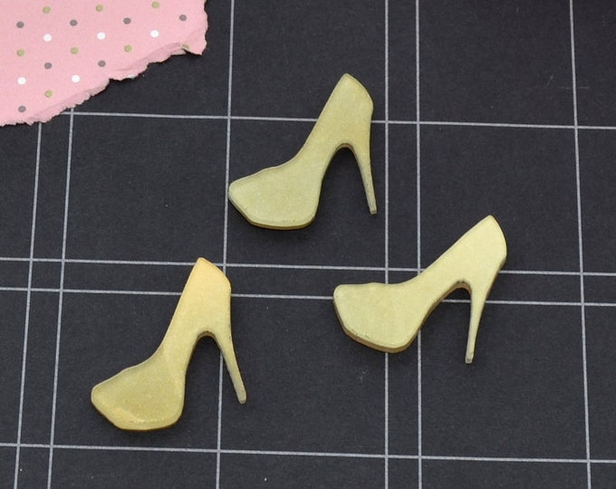 Sage Marbled Mini Heels - 3 Pieces - In Light Green Laser Cut Acrylic