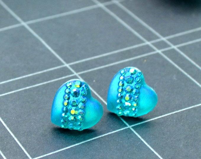 Sea of Love - Blue Iridescent Heart Earrings - Studs - Rhinestones