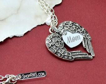 Memorial Necklace - Mom - Silver Wings Pendant Necklace