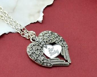 Memorial Necklace - Fur Baby - Silver Wings Pendant Necklace
