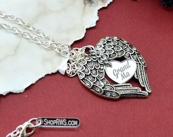 Memorial Necklace - Grandma - Silver Wings Pendant Necklace