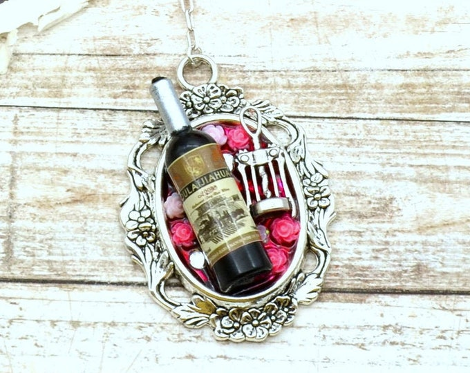 Wine and Dine Silver Cameo - Pendant Necklace