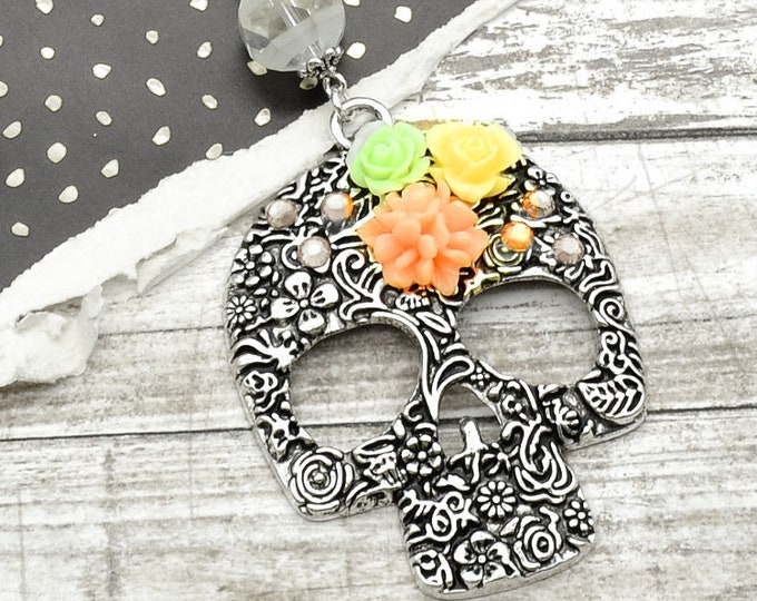 Peach Floral Skull Necklace - Floral Skeleton - Assorted Flowers - Antique Silver