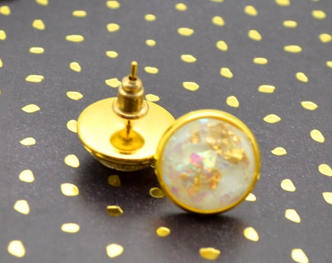 Gold and White Faux Agate Gold Foil Stud Earrings