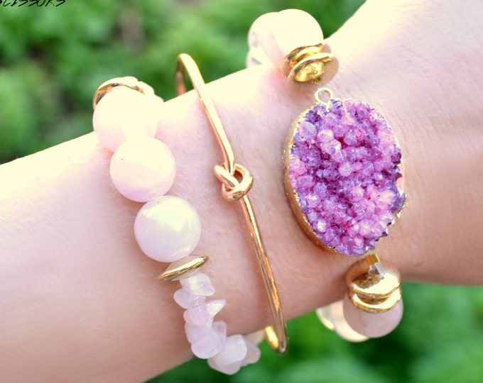 Muave Druzy and Rose Quartz Stack - 3 Bracelet Set