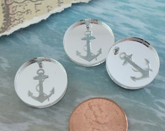 SILVER ANCHOR CHARMS - Circle Disc Charm- Shiny Silver Mirror Laser Cut Acrylic
