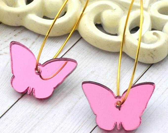 PINK BUTTERFLY HOOPS Gold Dangle Earrings
