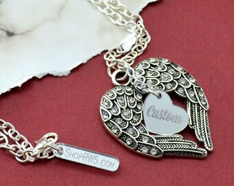 Memorial Necklace - Custom - Silver Wings Pendant Necklace