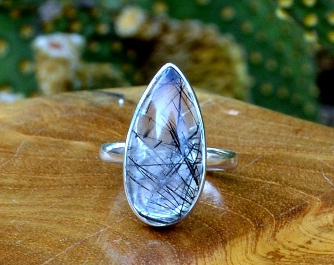 Atmosphere - Rutilated Quartz, Sterling Silver Ring, Size 6, 925, USA Seller, Genuine Stone, Tear Drop Shape, Handmade Gemstone Ring
