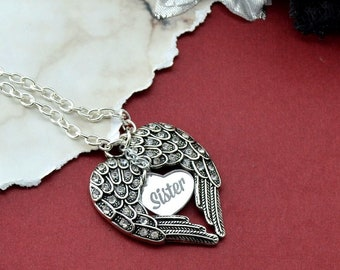 Memorial Necklace - Sister - Silver Wings Pendant Necklace