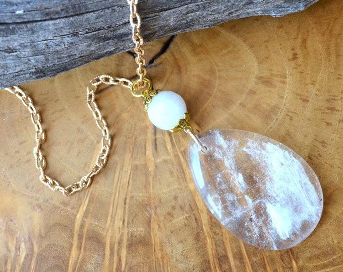 Clarifying Quartz Teardrop Necklace