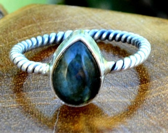 Labradorite Teardrop - Labradorite, Sterling Silver Ring, Size 7.5, 925, USA Seller, Genuine Stone, Teardrop Shape, Handmade Gemstone Ring