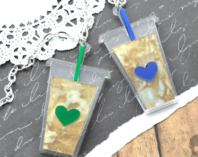 ICED COFFEE LOVE - Laser Cut Acrylic Necklace - Choose Your Color - Blue or Green