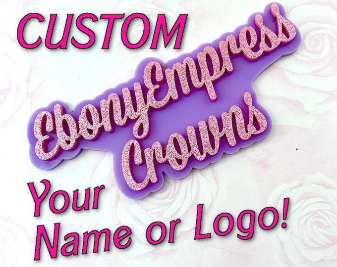 CUSTOM Layered Name Cabochon - You Choose the Word or Name and the Colors - Laser Cut Acrylic Flatback