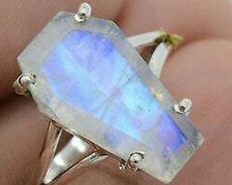 Moonstone Coffin - Moonstone, Sterling Silver Ring, Size 6 or 7, 925, USA Seller, Genuine Stone, Coffin Shape, Handmade Gemstone Ring