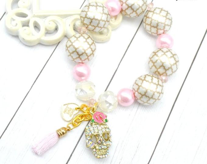 GLAM SKULL - Rhinestone Skull and Tassel Couture Bracelet