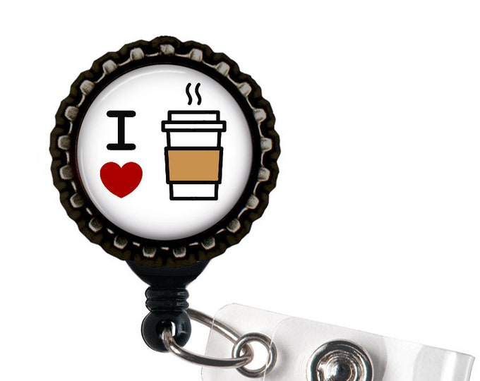 I Heart Coffee Black Resin Retractable Badge Reel ID Holder