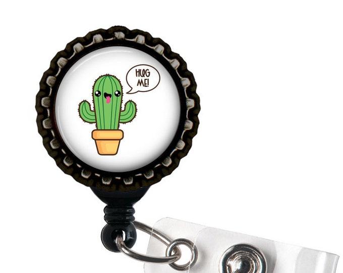 Happy Cactus Black Resin Retractable Badge Reel ID Holder